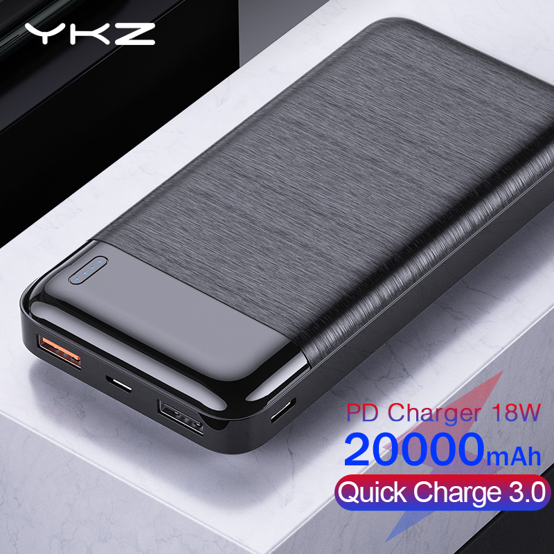 YKZ <font><b>Power</b></font> <font><b>Bank</b></font> 20000mAh Quick Charge 3.0 PD Slim Portable External Battery Charger Powerbank for iPhone Xiaomi <font><b>20000</b></font> Poverbank image