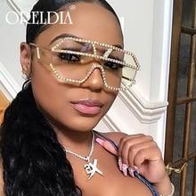 Rhinestone Oversized Sunglasses Women Men Diamond Retro
