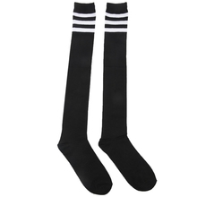 Mens Black White Acrylic Stretchy Cuff Striped Rugby Football Soccer Socks Pair