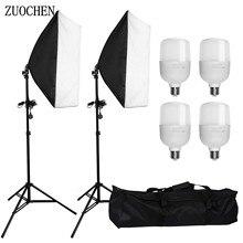 ZUOCHEN سوفت بوكس لاستوديو الصور ، مجموعة إضاءة مستمرة قطعة صندوق ناعم ، 4 مصابيح LED Blub ، 2 حامل ثلاثي القوائم لـ Facebook Live