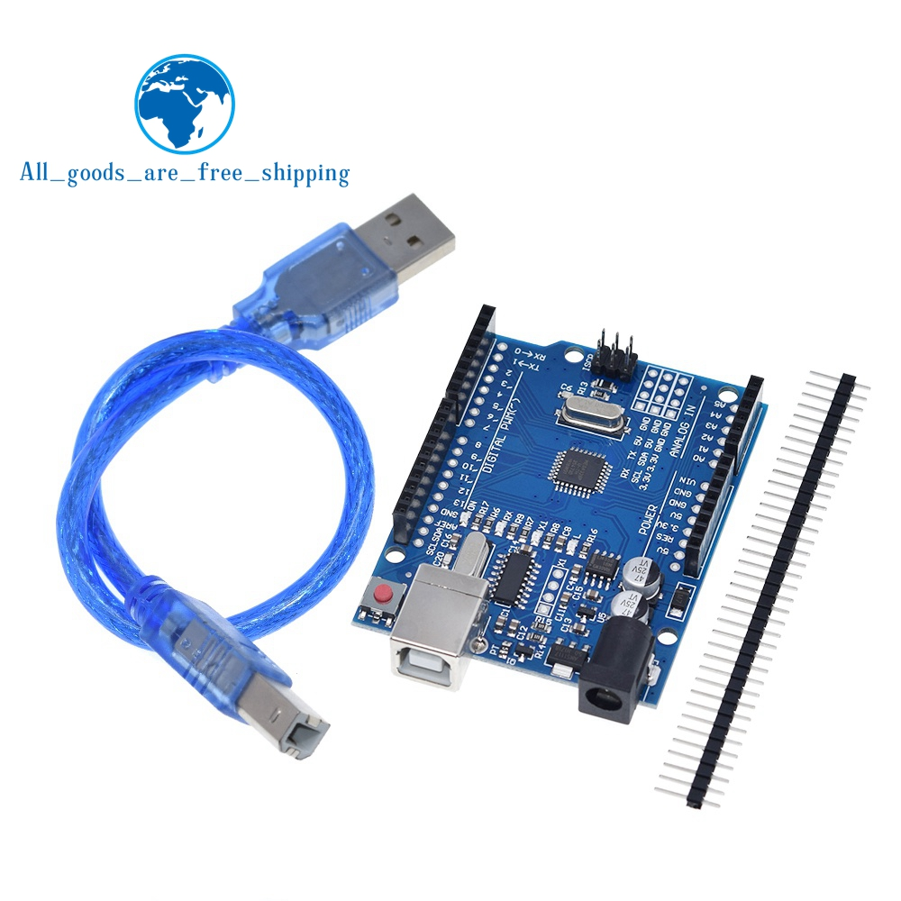 Макетная плата TZT UNO R3 ATmega328P CH340 CH340G для Arduino UNO R3 с прямым контактным разъемом и кабелем