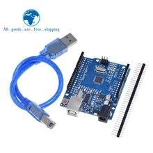 Placa de desarrollo TZT UNO R3 ATmega328P CH340 CH340G para Arduino UNO R3 con cabezal de Pin recto con Cable