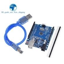 TZT UNO R3 geliştirme kurulu ATmega328P CH340 CH340G Arduino UNO için R3 düz Pin başlığı ile kablo