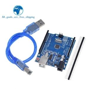 Image 1 - TZT UNO R3 geliştirme kurulu ATmega328P CH340 CH340G Arduino UNO için R3 düz Pin başlığı ile kablo