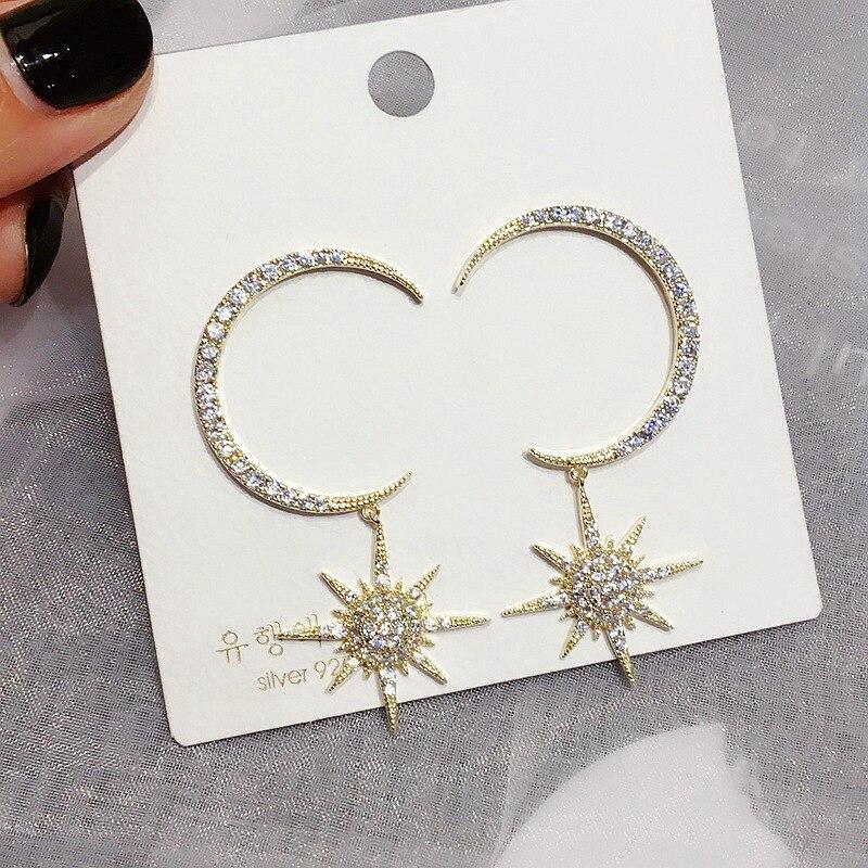 New Net Red Tide exaggerated C shaped moon star earrings zircon micro set S925 silver needle earrings jewelry in Stud Earrings from Jewelry Accessories