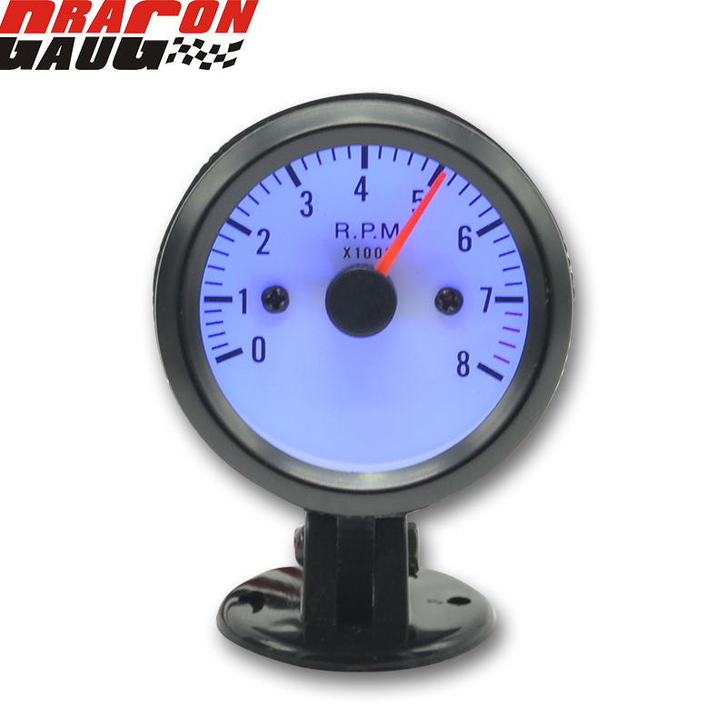 Dragon gauge 2 tum svart skal Blå bakgrundsbelysning Car Rev Counter Tachometer Pointer Gauge RPM Meter Gauge Gratis frakt