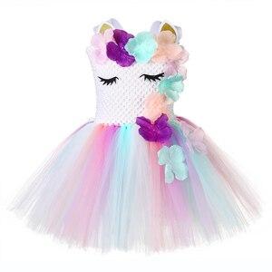Image 3 - Милое праздничное платье для девочек с цветочным рисунком и единорогом Детские костюмы единорогов на Хэллоуин для девочек 1 год, платье для дня рождения с повязкой на голову с единорогом