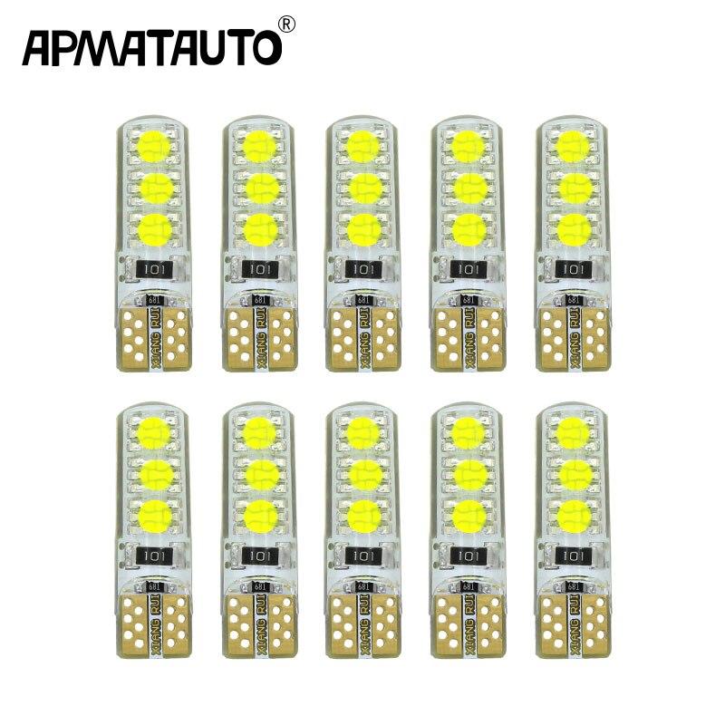 10 шт. LED W5W T10 194 168 W5W COB 6SMD Led парковочная лампа авто Клинообразная лампа кремнезема яркая белая Лицензия лампочки