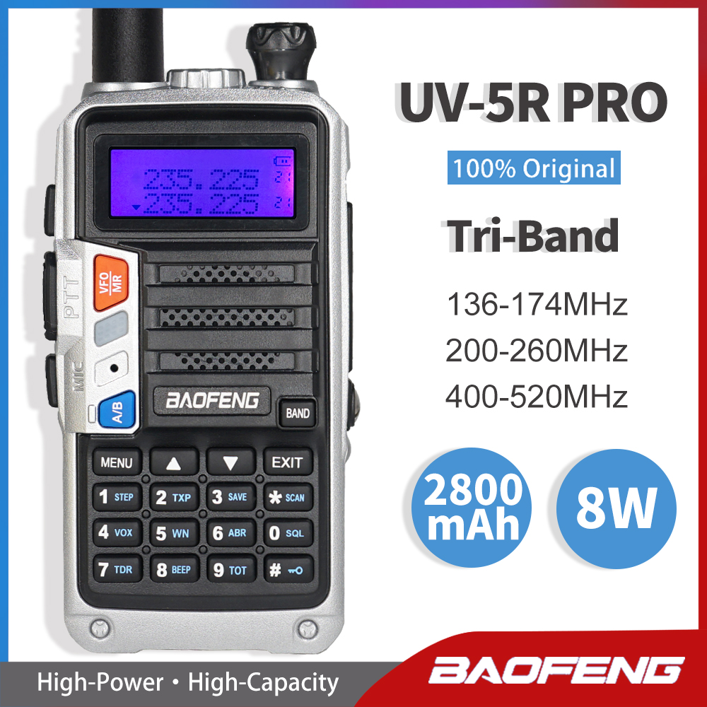 Tri-Band Radio BaoFeng UV-5R Pro Walkie Talkie 8W High Power Two Way Radio 220-260Mhz FM Transceiver Upgrade UV 5R Amateur Radio