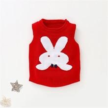 Мягкий хлопковый теплый жилет для малышей; детский жилет; пуловер; одежда для маленьких детей; костюм без рукавов с рисунком кролика; AA60778