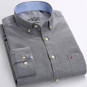 Image 4 - Nuovi uomini Caldi di Casual Camicette di Modo Colletto Button down Regular Fit A Manica Lunga di Colore Solido di Buona Qualità Oxford camicia di vestito