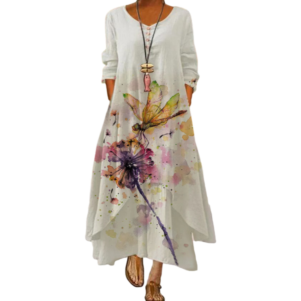 Dress 2021 summer style European and American fashion popular printed long sleeved dress female ins online trend hot sale B060 3