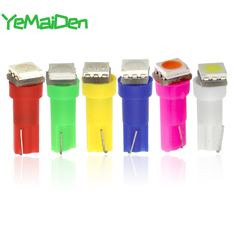 10 Pieces Car Instrument Lights T5 LED Bulb 5050 SMD Dashboard Warning Indicator Light 12V 6000K LED T5 Red White Yellow Blue