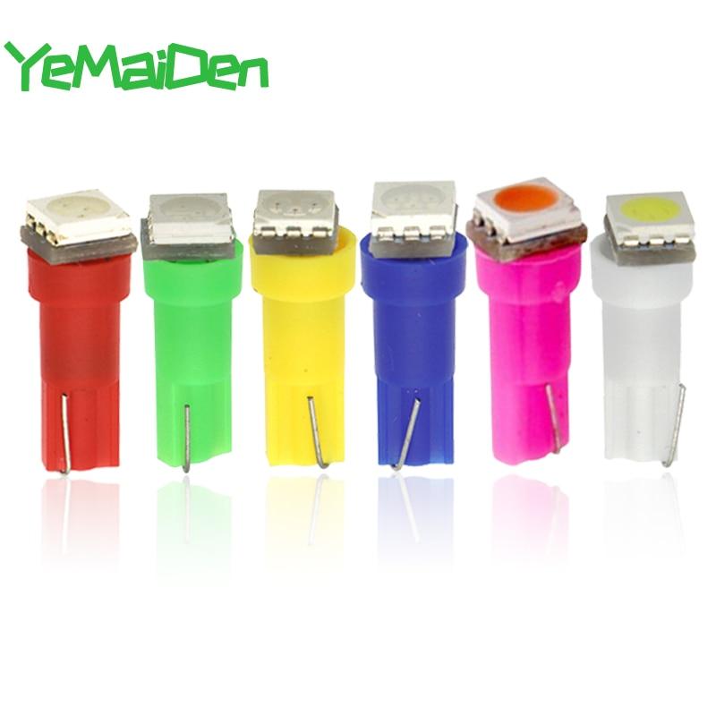 10 шт., светодиодные лампы, 5050 SMD, 12 В, 6000K, T5, красный, белый, желтый, синий