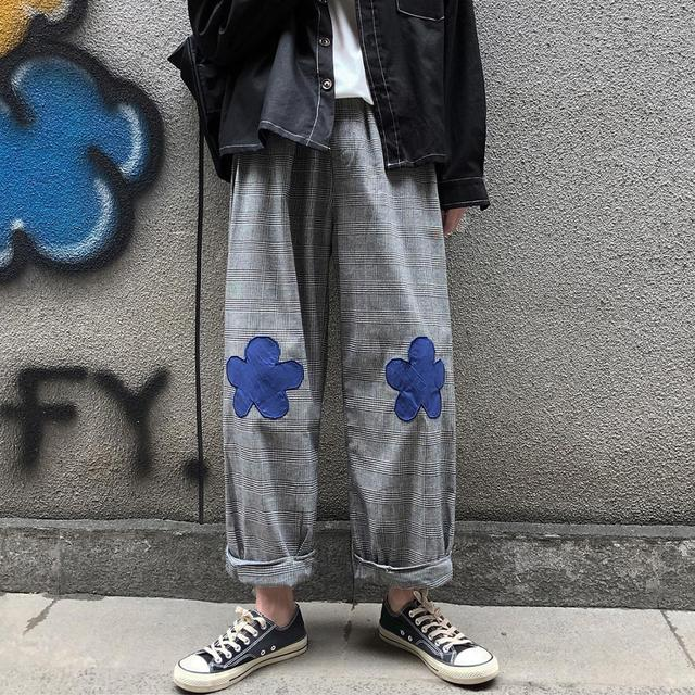 2020 Men's Embroidery Flower Printing Wide Leg Pants Lattice Leisure Casual Pants Hip-hop Style High Quality Trousers Size M-XL 1