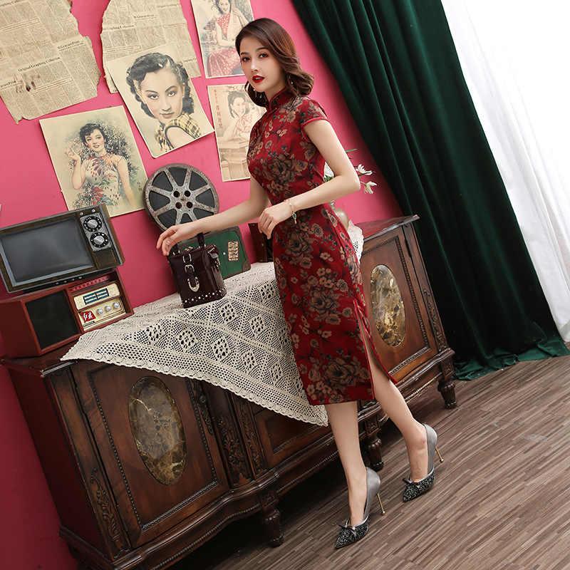 Chinese Traditional Dress Print  Satin Dress Women Handmade Button Cheongsam Sexy Mandarin Collar Qipao M-4XL