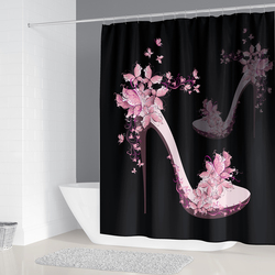 3D Black Shower Curtain Pink High Heels Bathroom Curtains with Hooks Non-Slip Rugs Toilet Lid Cover Mat Carpet Set Home Decor