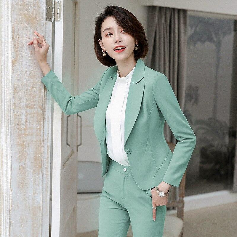 Green Female Formal Women's Pants Suits Classic Office Lady Business Pantsuit Blazer Trouser Suit Set Work Wear Uniform Costumes