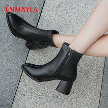 ENMAYLA 2019 Ankle Boots for Women Fashion PU Pointed Toe Square Heel Slip-On Short Plush Shoes Size 34-43