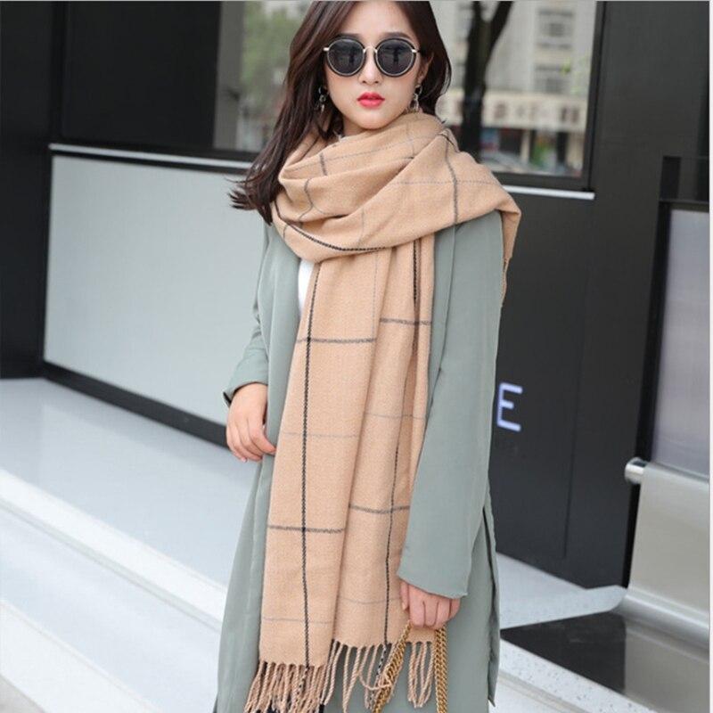 Plus récent automne et hiver plaid fille écharpe dames hiver cachemire-comme châle coréen mode sauvage foulard épais chaud écharpe