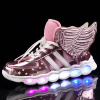 Pink Children Shoes Light Led luminous Shoes Boys Girls USB Charging Sport Shoes Casual Led Shoes usb Wing Kids Glowing Sneakers