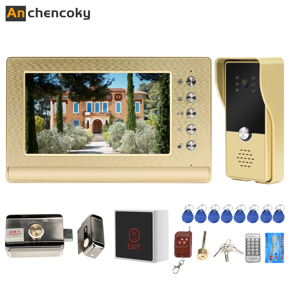 Anchencoky Video Intercom Doorbell With Lock And 3A Power Kit 7 Inch Video Door Phone Wired Access Control System Support Unlock