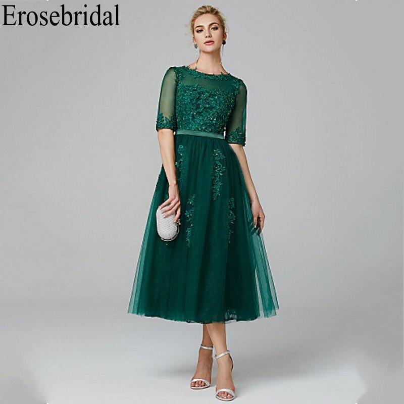 Erosebridal Short Evening Dress 2019 Elegant Formal Dress Evening Gowns For Women Sparkly Beaded With Seuqined Half Sleeve