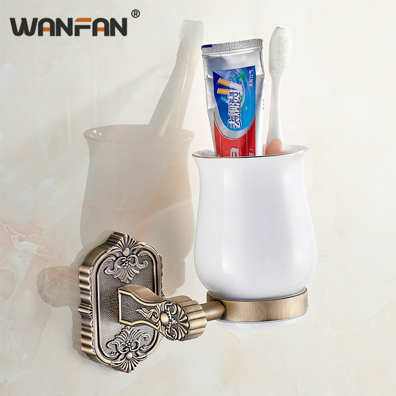 Antique Bathroom Single Cup Holder Solid Ceramic Cup Retro Carved Bronze Gold Holder Toothbrush Cup & Tumbler Holders White -618 image