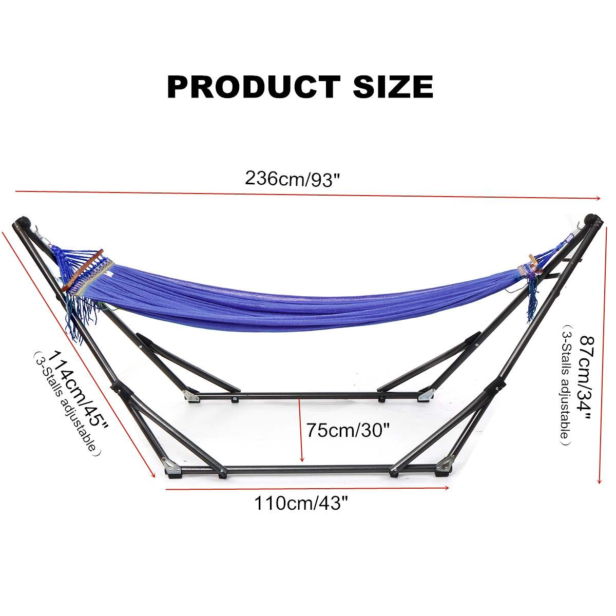 Folding Hammock Stand Bag Set 250KG Portable Steel Pipe Sleeping Swing Garden Outdoor Furniture Hunting Camping Accessories Kit - 5