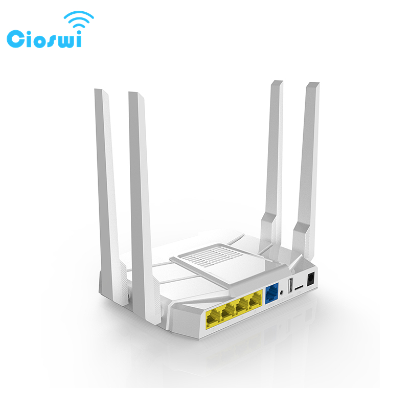 Cioswi Home Wifi sans fil Rputer 2.4G & 5G double bande 1200Mbps Gigabit routeur large couverture 16 mo Flash 128RAM fonctionne en douceur
