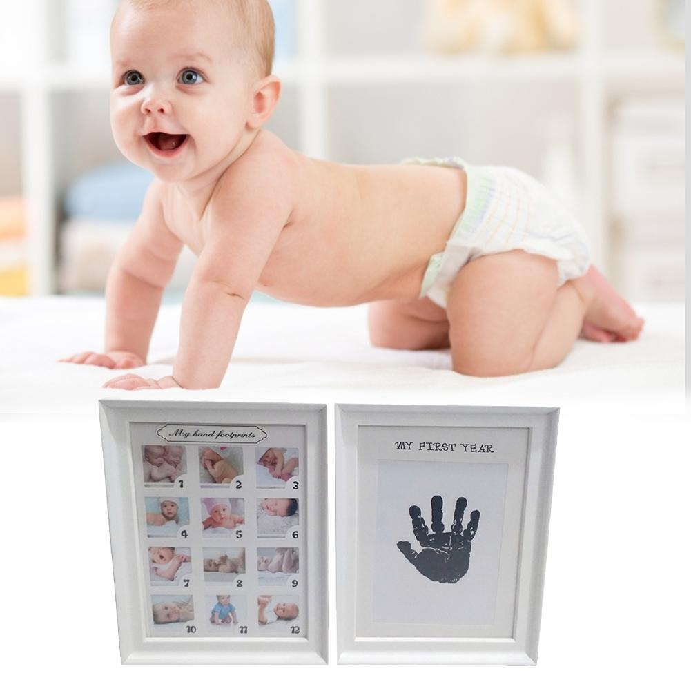 Baby Handprint Footprint Photo Frame Kit For Newborn Boys Girls Clean Touch Ink Pad Does Not Include Printing Paper