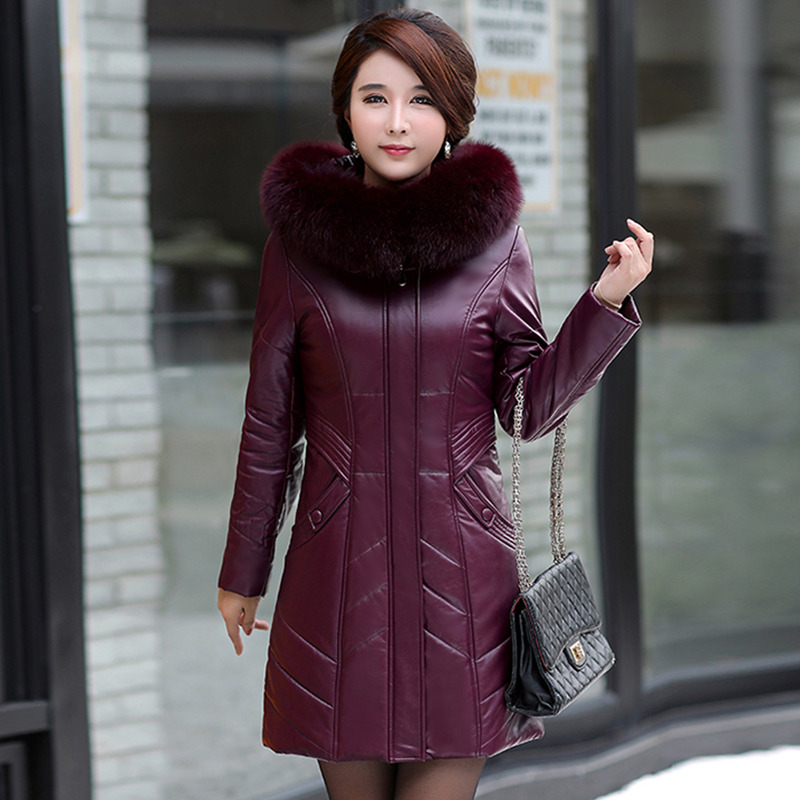 Plus Size L-8XL Women Leather Coat Winter 2019 New Mother's Jacket Thicken Warm Fur Collar Hooded Sheepskin Overcoat Female