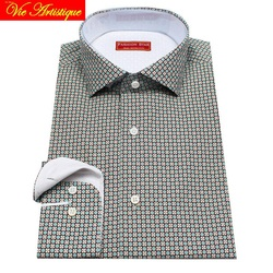 custom tailor made Men's bespoke cotton floral shirts business formal wedding ware blouse grey retro flower fashion david