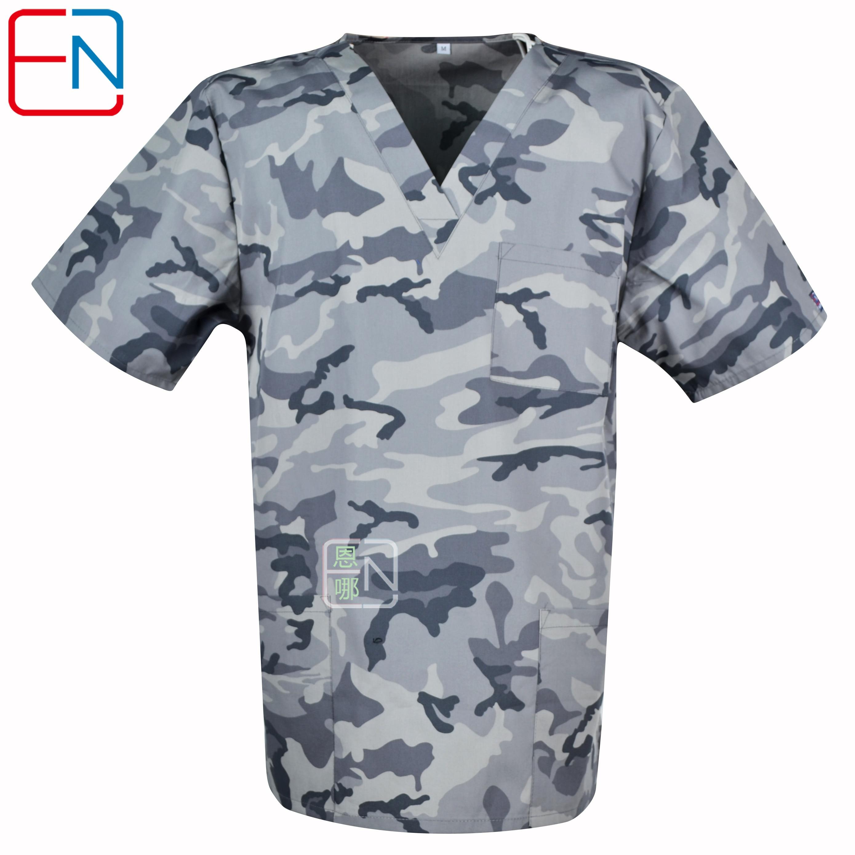 Men Medical Uniforms,men Scrub Top,men Medical Tops In Grey  Camouflage Medical Uniform For Male In 100% Cotton