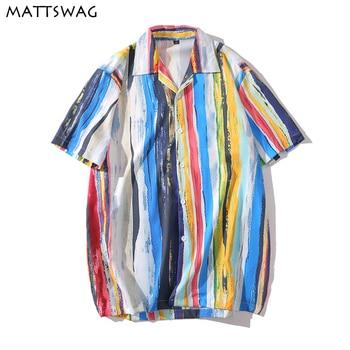 цена на MATTSWAG Rainbow Colorful Print Men Shirt Striped Splice Shirt for Mens Casual Loose Men Short Sleeve Shirt Button Up Shirt Male