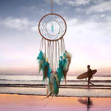 Ручной работы Ловец снов украшения из перьев для автомобиля настенный домашний подвесной Декор для комнаты висящий мечтатель подвеска-колокольчик lapacz