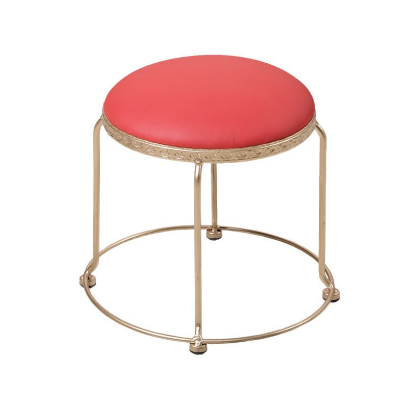 Golden Stool Creative Fashion Small Round Stool Low Stool Leather Seat Bench Stool Dining Chair Change Shoe Bench 30/46cm Height