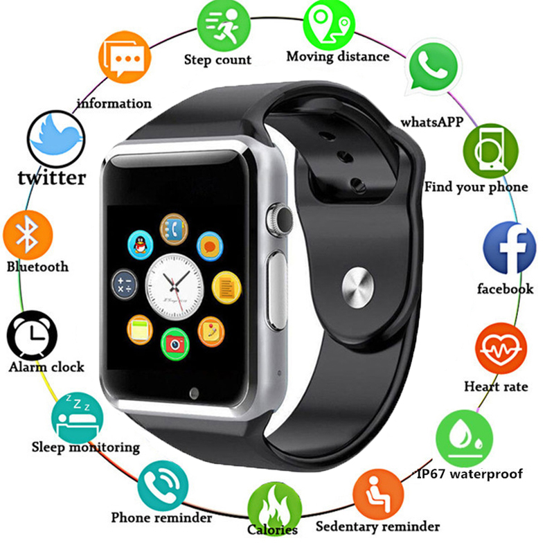 <font><b>A1</b></font> <font><b>Smart</b></font> <font><b>Watch</b></font> <font><b>Bluetooth</b></font> WristWatch <font><b>Sport</b></font> Pedometer With SIM Card Passometer Camera Smartwatch Fr Android iOS Phone PK GT08 DZ09 image
