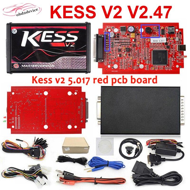 2020 KESS V2 V2.47 V5.017 EU Rot PCB ECM Titan Online Master Version ECU schreiben OBD2 Auto/lkw ECU programmierer DHL Schiff