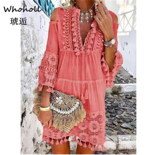 цена на Whoholl Brand Loosely Dress Female Lantern Long Sleeve High Waist Hollow Out Ruffle Hem Shirt Dresses Women 2019 Autumn Fashion