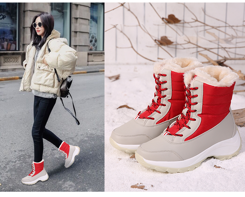 2019 Women Snow boots Waterproof Non-slip Parent-Child Winter Boots Thick Fur Platform Waterproof and Warm Shoes Plus Size 31-42 45