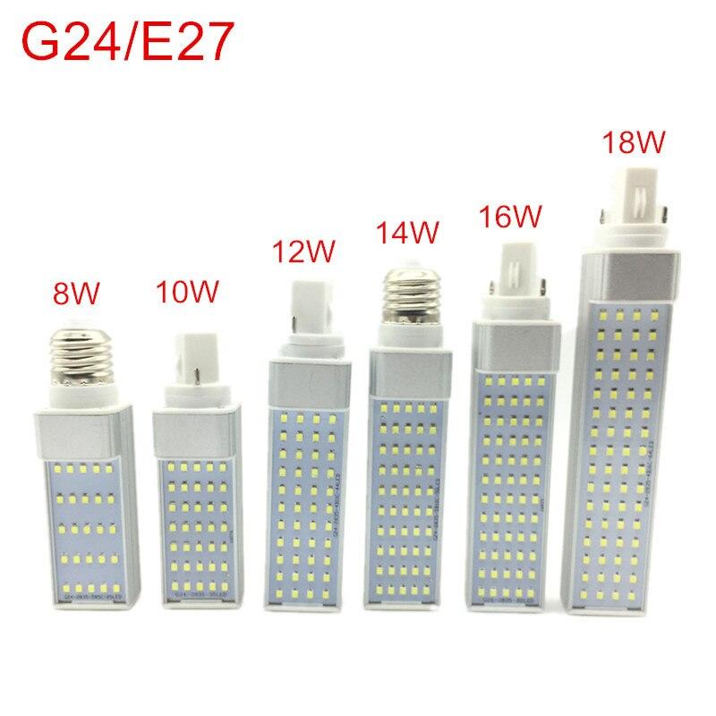 G24/E27 Светодиодный светильник 8 Вт 10 Вт 12 Вт 14 Вт 16 Вт 18 Вт E27 Светодиодный прожектор лампа свет прожектор 180 градусов горизонтальный штекер