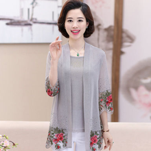 2020 Summer New Middle-Aged Women Lace Two Piece Set Top Embroidered Upscale Mother'S Cardigan Suit Set AQ297(China)