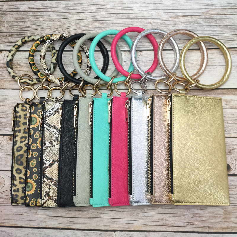 ZWPON Personalized PU Leather Phone Wallet Wristlet Bangle Key Chain Leopard O Ring Clutch Wrist Sunflower Purse Bag Christmas Gifts Wholesale
