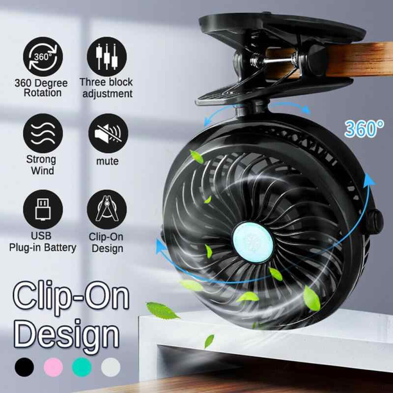 Mini Cooling Fan USB Rechargeable 360 Degree Rotation Portable Desk Clip-on