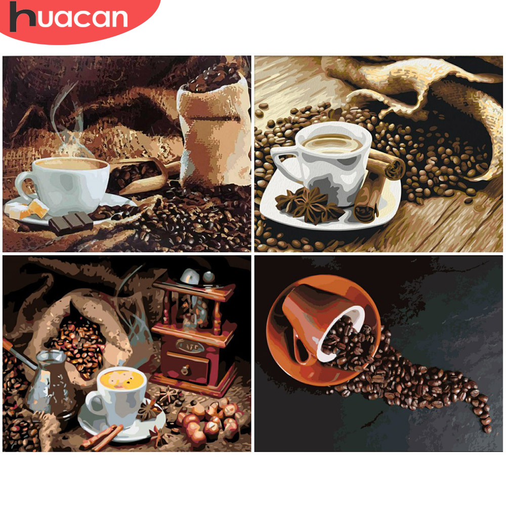 HUACAN Painting By Numbers Coffee Landscape Drawing On Canvas HandPainted Art Gift DIY Picture By Number Cup Kits Home Decor