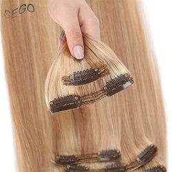SEGO 110-170 г 10-24 дюйма 8 шт. наращивание человеческих волос с зажимом 100% настоящая машина Remy Прямые бразильские волосы с Двойным Зажимом