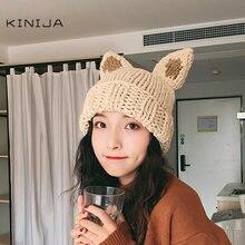 Корейская женская вязаная шапка с заячьими ушками зимняя теплая