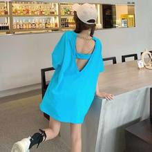 Summer 2021 new design sense of mind loose medium length open back blue short sleeve T-shirt women's fashion[delivery within 15