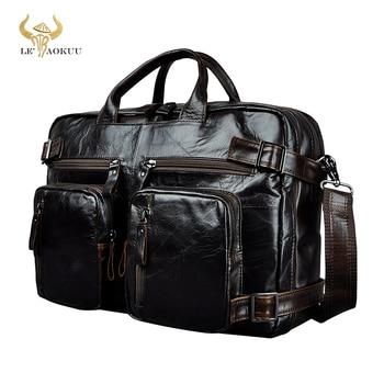 "Couro genuíno homem design multifunction purpose maletas maletin pasta de negócios 15 ""portátil bolsa tote carteira saco k1013 1"